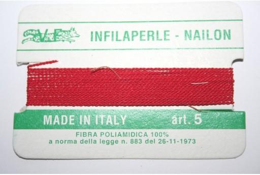 Filo Nylon Infilaperle con Ago Rosso Misura 5 - 2pz