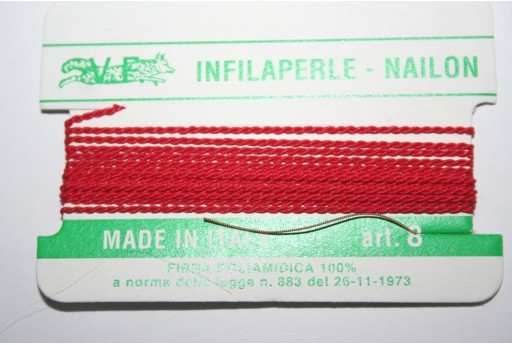 Red Nylon Thread With Needle Size 8 - 2pcs