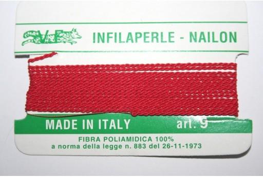Red Nylon Thread With Needle Size 9 - 2pcs