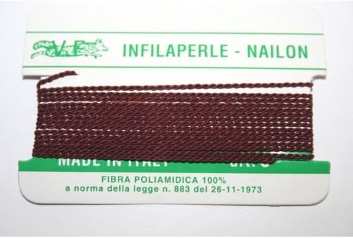 Filo Nylon Infilaperle con Ago Bordeaux Misura 9 - 2pz
