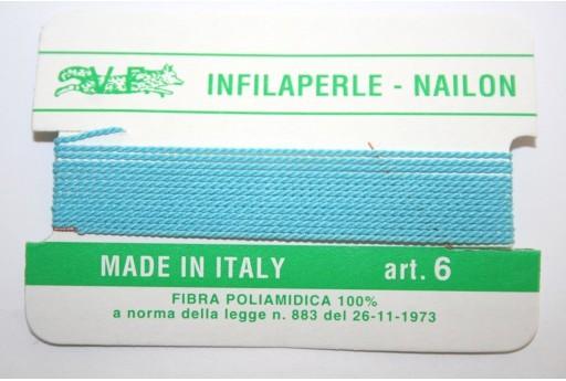 Turquoise Nylon Thread With Needle Size 6 - 2pcs