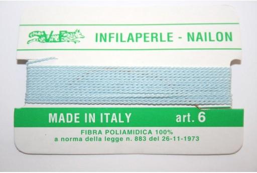 Light Blue Nylon Thread With Needle Size 6 - 2pcs