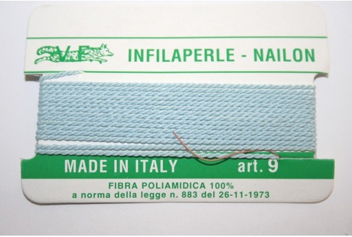 Light Blue Nylon Thread With Needle Size 9 - 2pcs