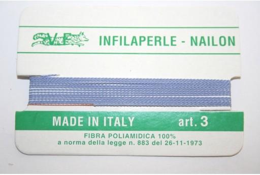 Lilac Blue Nylon Thread With Needle Size 3 - 2pcs