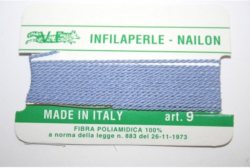 Lilac Blue Nylon Thread With Needle Size 9 - 2pcs