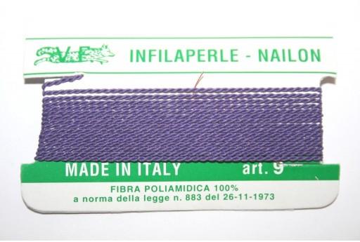 Violet Nylon Thread With Needle Size 9 - 2pcs