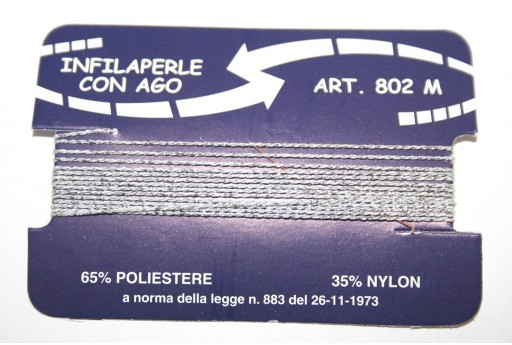 Silver Nylon Thread With Needle Size M - 2pcs