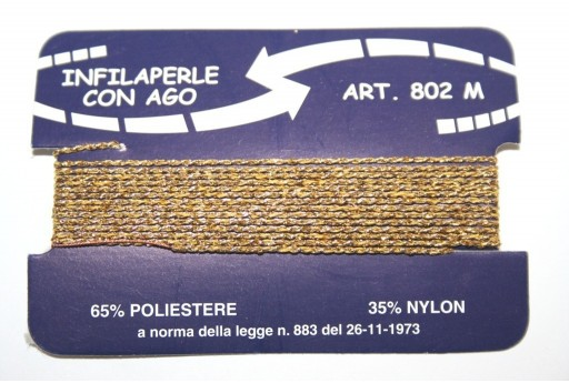 Gold Nylon Thread With Needle Size M - 2pcs