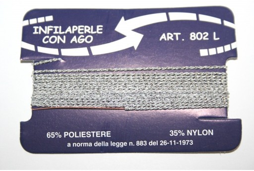 Silver Nylon Thread With Needle Size L - 2pcs