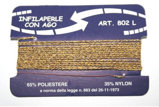 Filo Nylon Infilaperle con Ago Oro Misura L - 2pz