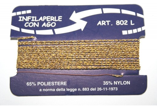 Gold Nylon Thread With Needle Size L - 2pcs