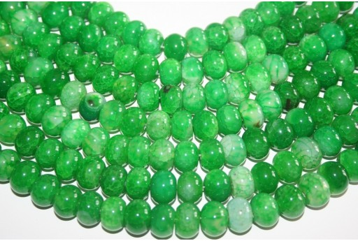 Cracked Agate Green Rondelle Bead 10x14mm AGCR5A
