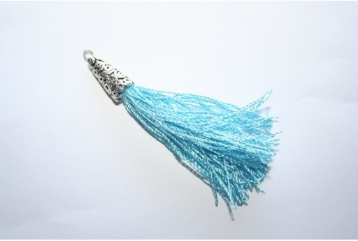 Polyester Tassel Light Blue 9x75mm - 1pc