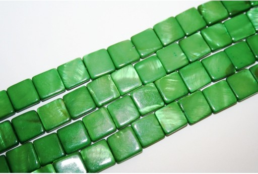 Dyed Shell Beads Green Square 12x12mm - 32pcs