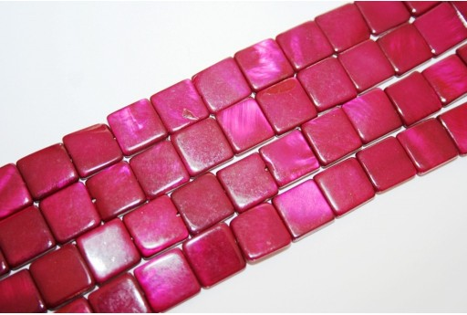 Dyed Shell Beads Bordeaux Square 12x12mm - 32pcs