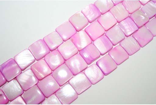 Dyed Shell Beads Pink Square 12x12mm - 32pcs