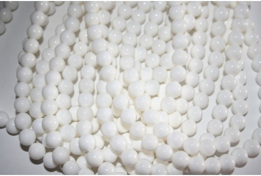 Shell White Round Bead Strand 48pcs 8mm SH8