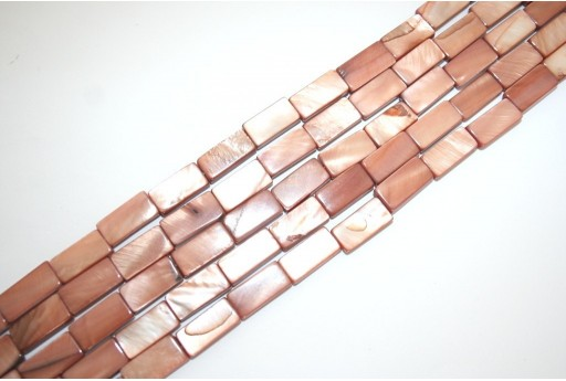 Dyed Shell Beads Bronze Rectangle 15x7mm - 28pcs