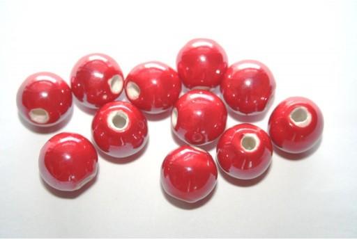 Perline di Ceramica Tondo Rosso 12mm - 4pz