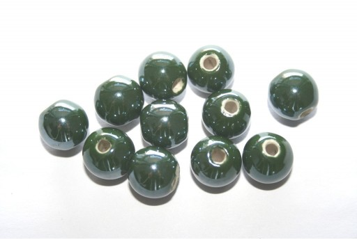 Perline di Ceramica Tondo Verde Scuro 12mm - 4pz