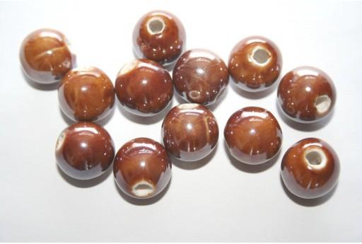 Perline di Ceramica Tondo Marrone 12mm - 4pz