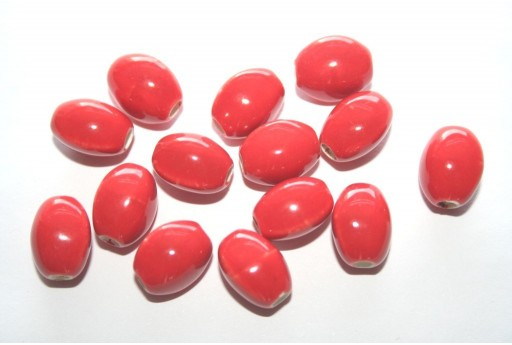 Ceramic Beads Red Oval 12x9mm - 6pz