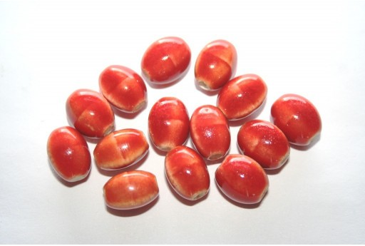 Ceramic Beads Orange Oval 12x9mm - 6pz