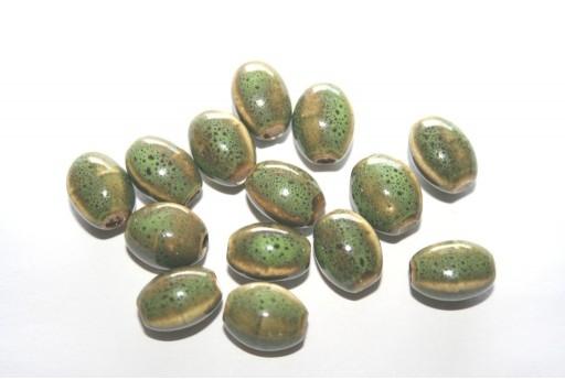 Perline di Ceramica Verde Oliva Ovale 12x9mm - 6pz