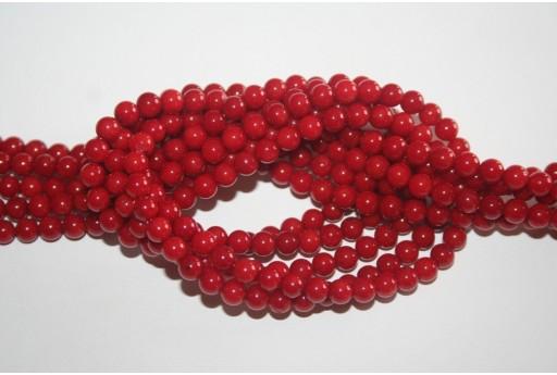 Filo 64 Pietre Corallo Rosso Sfera 6mm COR6
