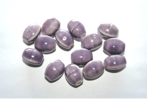 Ceramic Beads Purple Oval 12x9mm - 6pz