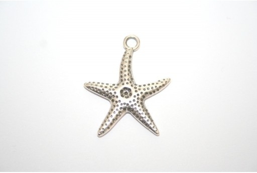 Antique Silver Plated Sea Star Pendant 27mm - 1pz