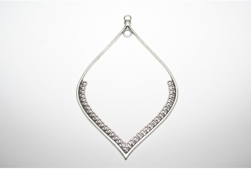 Antique Silver Plated Leaf Pendant 118x80mm - 1pz