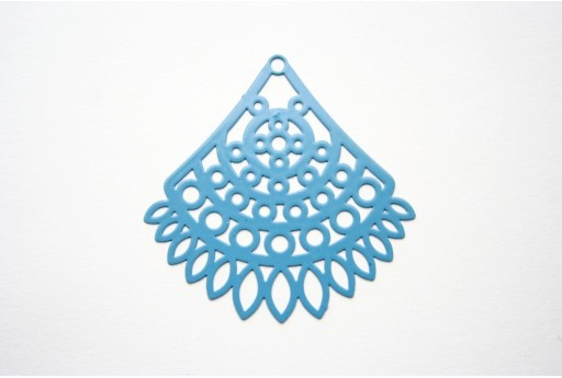Blue Laser Cut Filigree - Fan 40x34mm - 1pcs