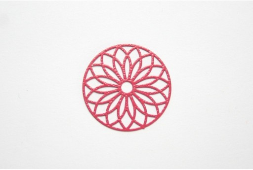 Red Laser Cut Filigree - Round 24mm - 2pcs
