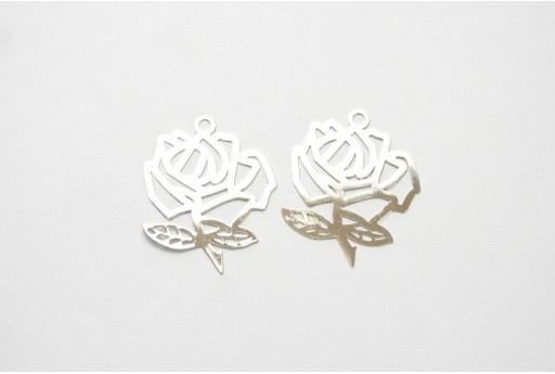 Laser Cut Filigree - Rose 26x21mm - 5pcs
