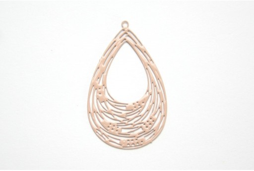 Beige Laser Cut Filigree - Drop 35x31mm - 2pcs