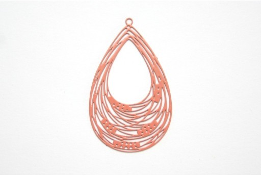 Terracotta Laser Cut Filigree - Drop 35x31mm - 2pcs
