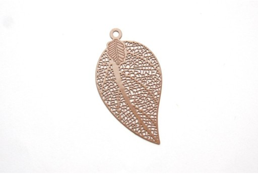 Dark Beige Laser Cut Filigree - Leaf 39x21mm - 2pcs