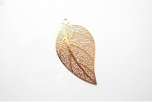 Rose Gold Laser Cut Filigree - Leaf 39x21mm - 2pcs