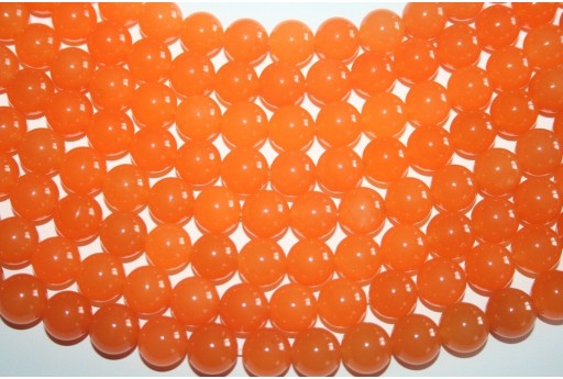 Jade Beads Orange Sphere 12mm - 32pz
