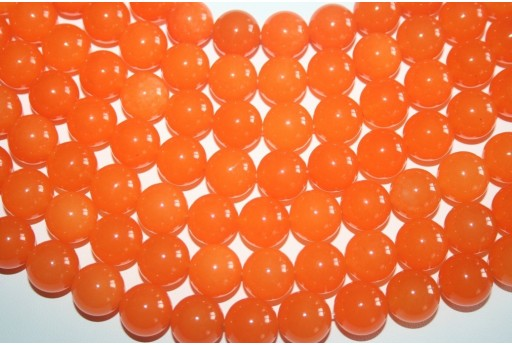 Jade Beads Orange Sphere 14mm - 3pz