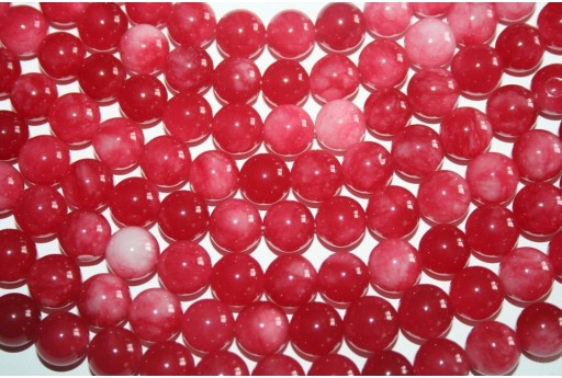 Jade Beads Red/White Sphere 12mm - 32pz
