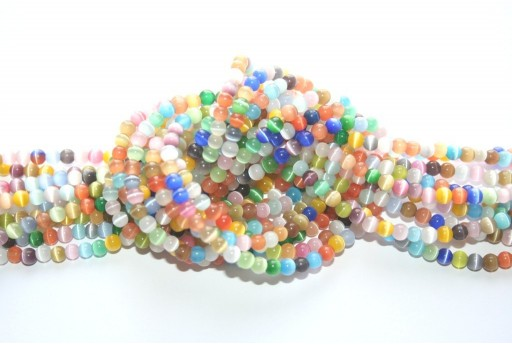 Cat's Eye Beads Sphere Multicolor 4mm - 98pz