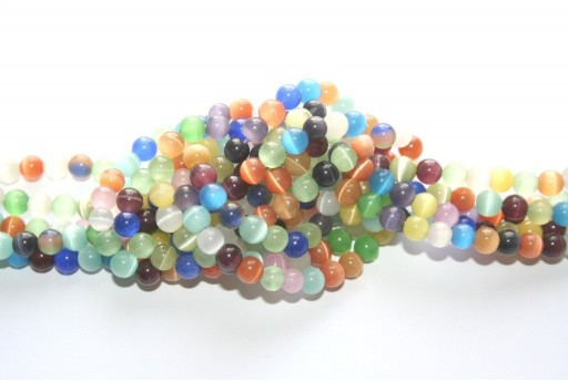 Cat's Eye Beads Sphere Multicolor 6mm - 68pcs