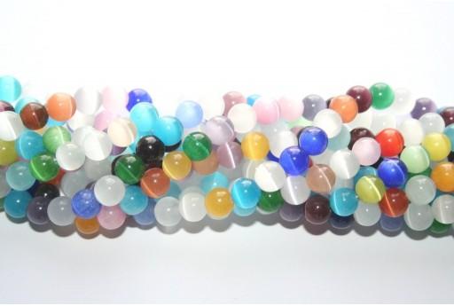 Perline Occhi di Gatto Multicolor Sfera 8mm - 48pz