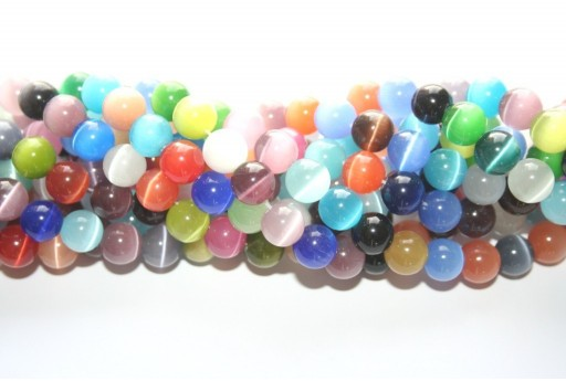 Cat's Eye Beads Sphere Multicolor 10mm - 38pcs