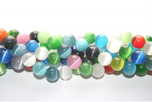 Cat's Eye Beads Sphere Multicolor 12mm - 12pcs