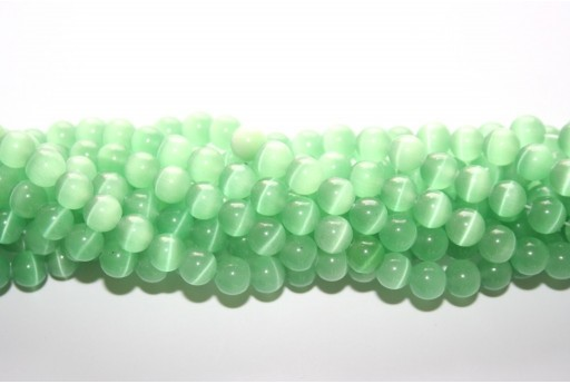 Cat's Eye Beads Sphere Light Green 8mm - 48pcs