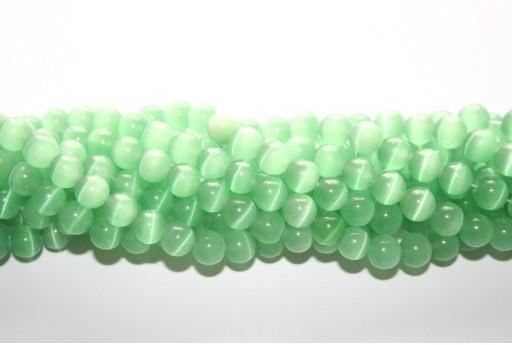 Perline Occhi di Gatto Verde Chiaro Sfera 8mm - 48pz