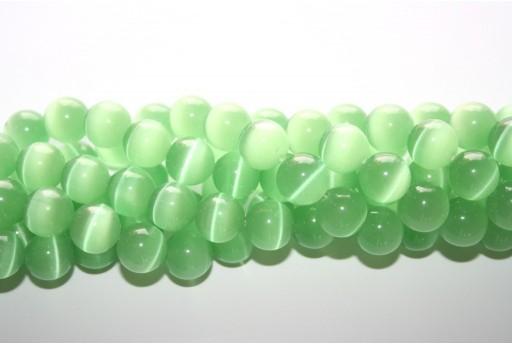 Perline Occhi di Gatto Verde Chiaro Sfera 12mm - 12pz